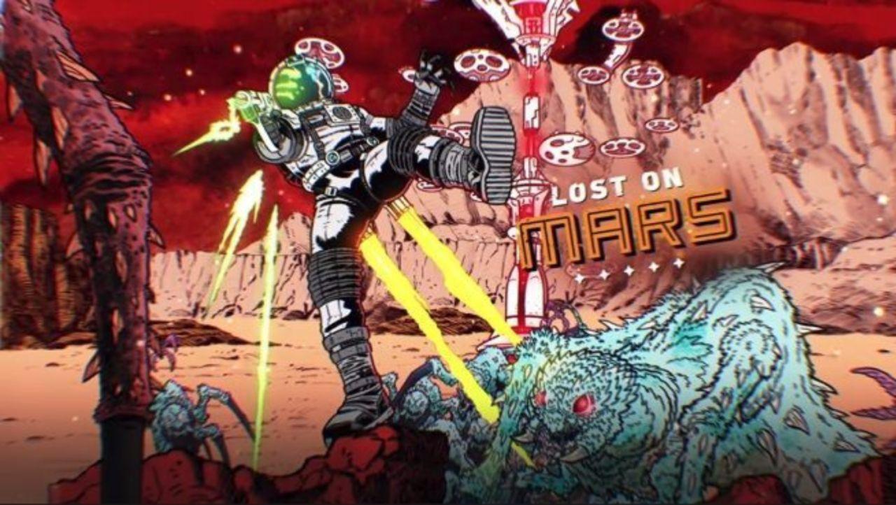 Lost on mars astronaut shooting alien